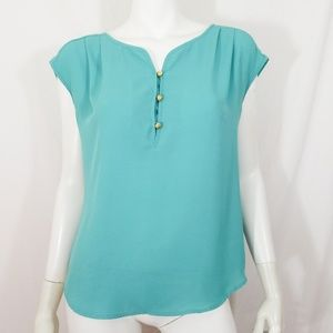 Daniel Rainn teal gold button sleeveless tunic top
